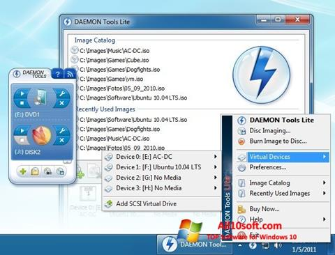 Ekrānuzņēmums DAEMON Tools Lite Windows 10