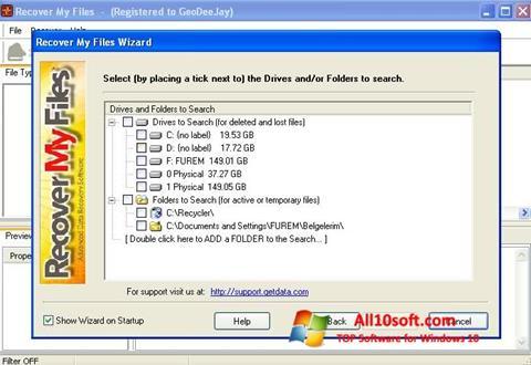 Ekrānuzņēmums Recover My Files Windows 10
