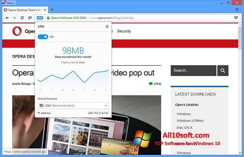 Ekrānuzņēmums Opera Windows 10