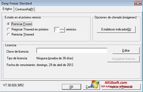 Ekrānuzņēmums Deep Freeze Windows 10