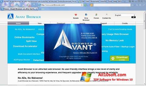 Ekrānuzņēmums Avant Browser Windows 10