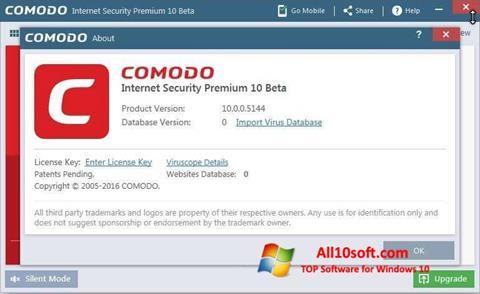 Ekrānuzņēmums Comodo Windows 10