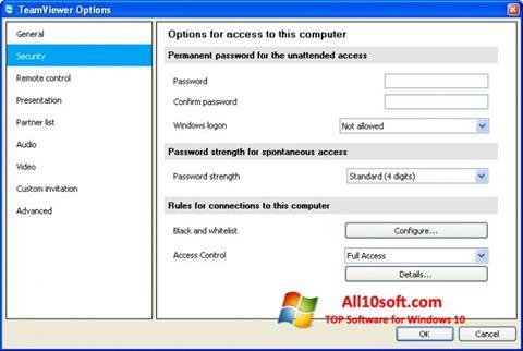 Ekrānuzņēmums TeamViewer Windows 10