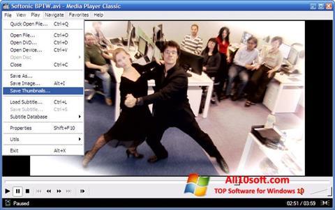 Ekrānuzņēmums Media Player Classic Windows 10