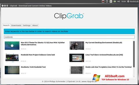 Ekrānuzņēmums ClipGrab Windows 10