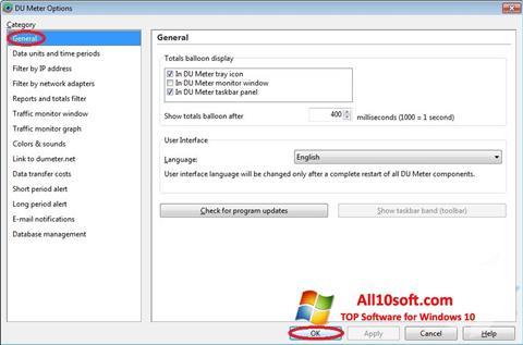 Ekrānuzņēmums DU Meter Windows 10