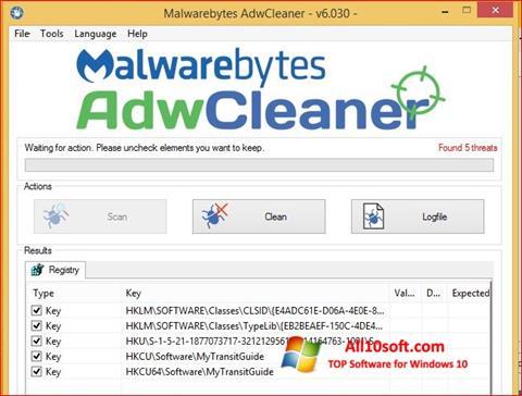 Ekrānuzņēmums AdwCleaner Windows 10
