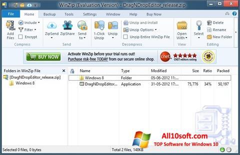 Ekrānuzņēmums WinZip Windows 10