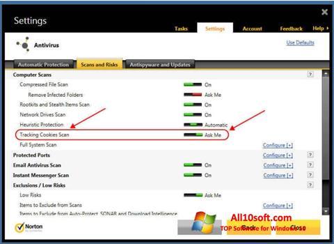 Ekrānuzņēmums Norton Windows 10