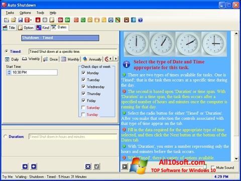 Ekrānuzņēmums Auto ShutDown Windows 10