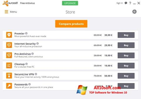 Ekrānuzņēmums Avast Free Antivirus Windows 10