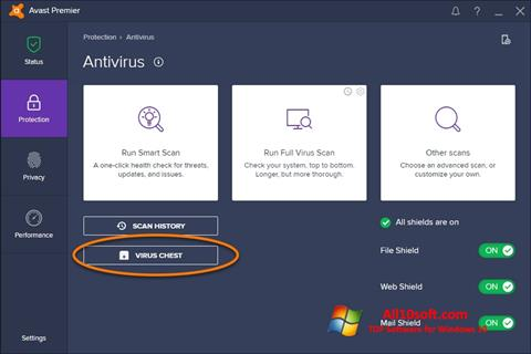 Ekrānuzņēmums Avast Windows 10