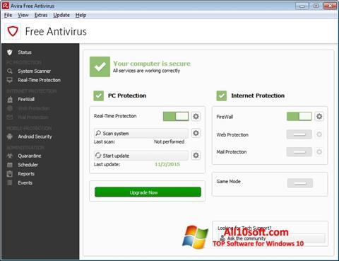 Ekrānuzņēmums Avira Free Antivirus Windows 10