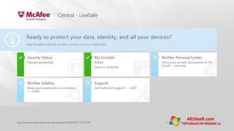 Ekrānuzņēmums McAfee LiveSafe Windows 10