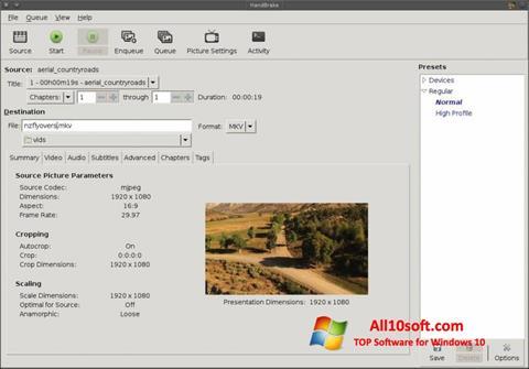 Ekrānuzņēmums HandBrake Windows 10