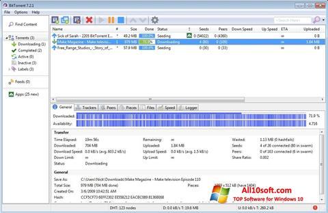 Ekrānuzņēmums BitTorrent Windows 10