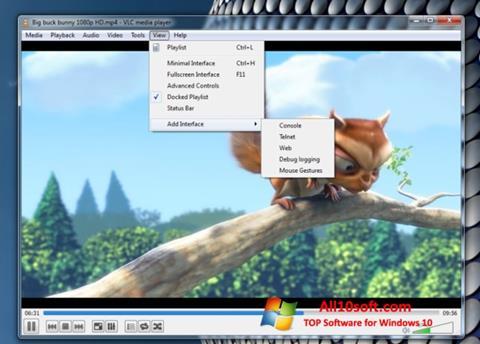Ekrānuzņēmums VLC Media Player Windows 10