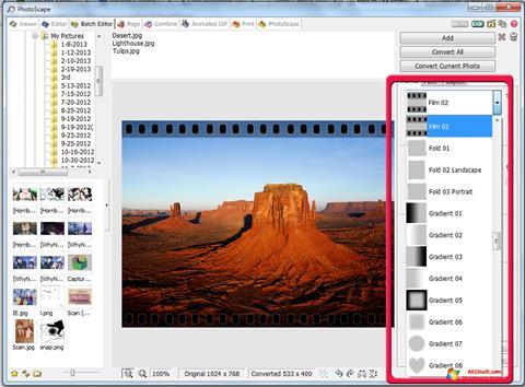 Ekrānuzņēmums PhotoScape Windows 10