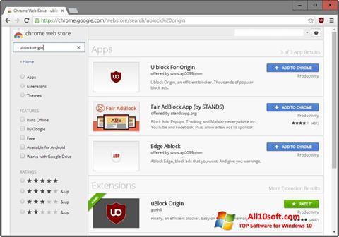 Ekrānuzņēmums uBlock Windows 10