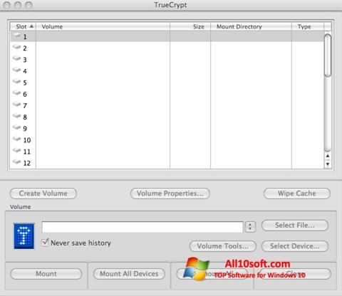 Ekrānuzņēmums TrueCrypt Windows 10