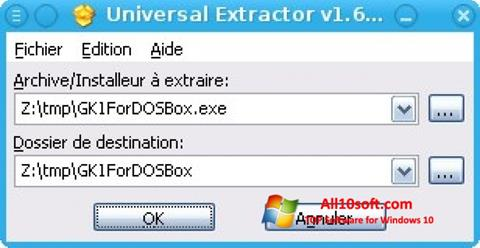 Ekrānuzņēmums Universal Extractor Windows 10