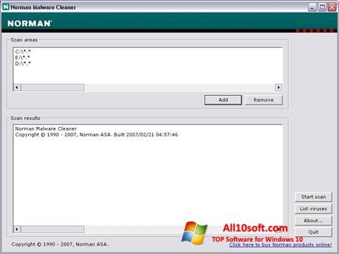 Ekrānuzņēmums Norman Malware Cleaner Windows 10