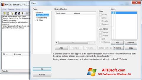 Ekrānuzņēmums FileZilla Server Windows 10