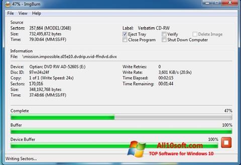 Ekrānuzņēmums ImgBurn Windows 10