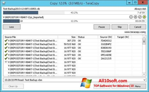 Ekrānuzņēmums TeraCopy Windows 10