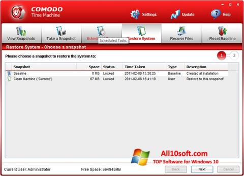 Ekrānuzņēmums Comodo Time Machine Windows 10