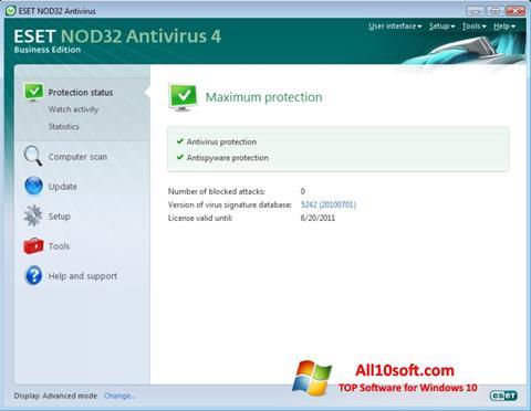 Ekrānuzņēmums ESET NOD32 Windows 10