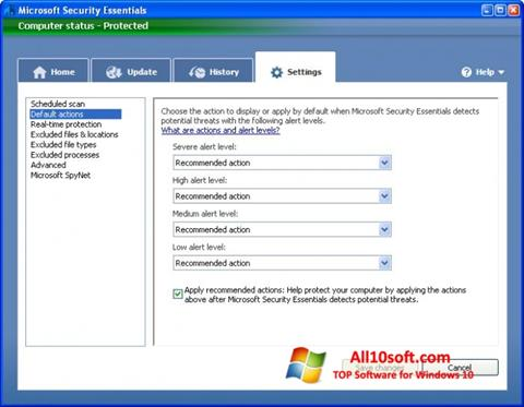 Ekrānuzņēmums Microsoft Security Essentials Windows 10