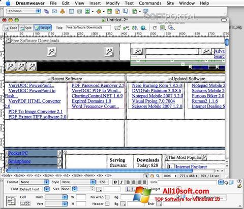 Ekrānuzņēmums Macromedia Dreamweaver Windows 10