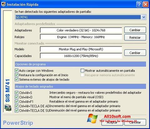 Ekrānuzņēmums PowerStrip Windows 10