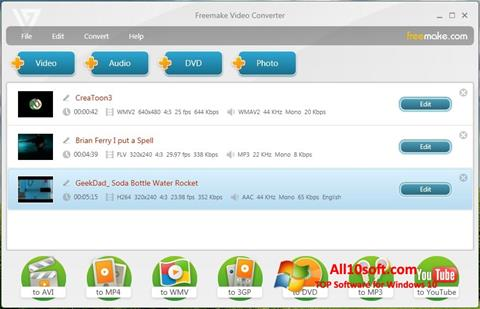 Ekrānuzņēmums Freemake Video Converter Windows 10