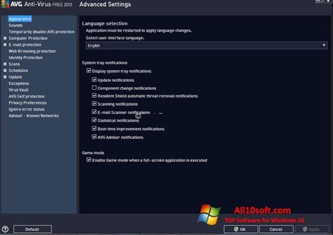 Ekrānuzņēmums AVG Windows 10