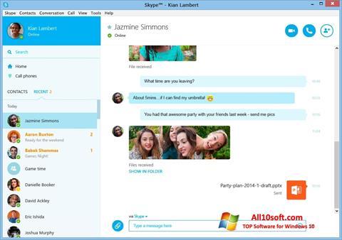 Ekrānuzņēmums Skype Windows 10
