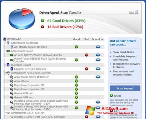 Ekrānuzņēmums DriverAgent Windows 10
